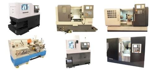Ansicht verschiedener Drehmaschinen für die Drehbearbeitung